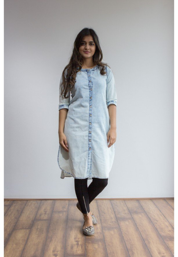 Ruky Fareen Denim Women Long Top Kurti Full Sleeve - RF 214 - XL