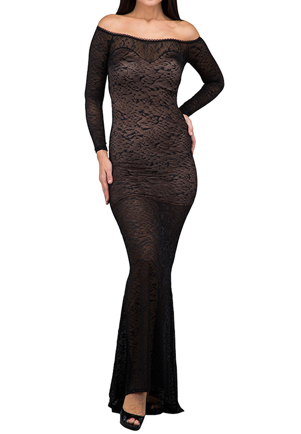 TFNC London Samima Maxi Evening Dress Black/Nude - ANT 58570 - M
