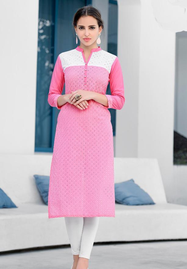 Mist Cotton Schiffli work Kurtis Pink - L