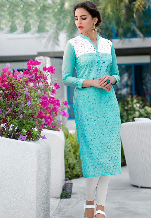 Mist Cotton Schiffli work Kurtis Blue - L
