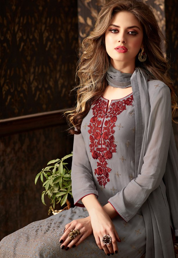 Sahiba Nour 206 Georgette With Embroidery Dress Material