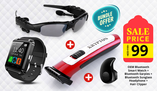 4 in 1 Combo! OEM Bluetooth Smart Watch + Bluetooth Earpies + Bluetooth Sunglass Headphone + Hair Clipper