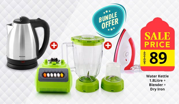 Combo Offer! Krypton Water Kettle 1.8Litre KNK6009 +Blender EA-811 +Krypton Dry Iron KNDI6001