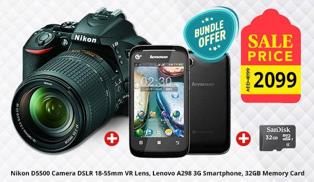 Bundle offer, Nikon D5500 Camera DSLR 18-55mm VR Lens, Lenovo A298 3G Smartphone, 32GB Memory Card