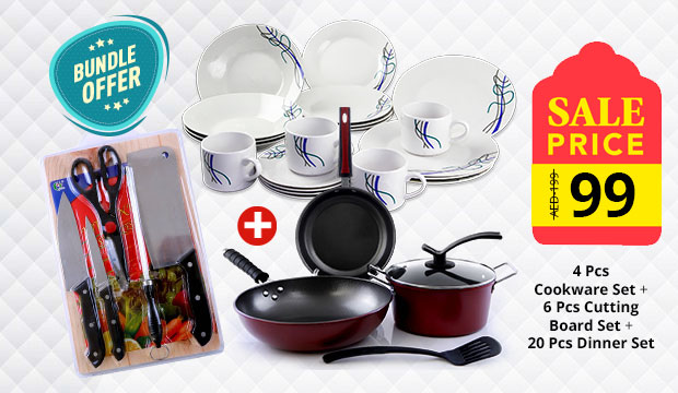 Combo Offer!  Epsilon 4Pcs Cookware Set-EN3674 + Epsilon 6pcs Cutting Board Set-EN3078 + Dinner Set 20Pcs-BSL37